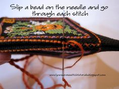 Lynn B 's finishing instructions for cross stitch : Halloween cross stitched scissor fob tutorial