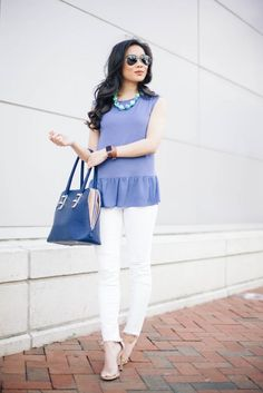 Periwinkle blouse with white distressed jeans from J Brand