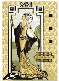 Art Deco Cards, Charleston Style, Art Deco Illustration, Art Nouveau Design, China Painting, Shabby Chic Style, Types Of Art, Vintage Pictures, Art Deco Fashion