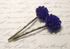 Indigo Blue Chrysanthemum cabochon bobby pins by JMEBeads on Etsy, $4.50