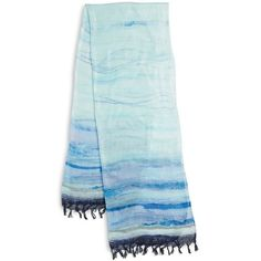 Collection 18 Ethereal Striped Scarf ($17) ❤ liked on Polyvore featuring accessories, scarves, blue, fringed shawls, striped scarves, blue scarves, fringe scarves and blue shawl