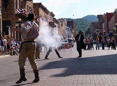 Attractions in Deadwood, SD, When the guns shot Moose was looking for ducks to retrieve.