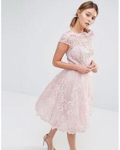Chi Chi London | Pink Premium Lace Midi Prom Dress With Bardot Neck | Lyst