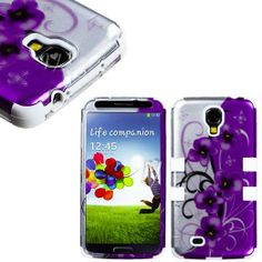 """Amazon.com: myLife (TM) White - Purple Floral and Vine Design (3 Piece Hybrid) Hard and Soft Case for the Samsung Galaxy S4 """"Fits Models: I9..."""