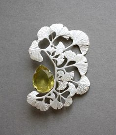 Klimt02: Blogs- Surviving Little Boy, brooch, silver, heliodor, Linda Marie Karlsson