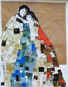 Mothers Day fine art project for kids – Gustav Klimt on www. Project created by 4 and 5 years old students of PS 110 Monitor Street, Brooklyn, New York.