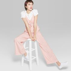 4b1ce8073fa Women s Polka Dot Strappy Ruched Front Cutout Jumpsuit - Wild Fable Light  Pink XS