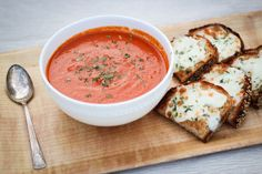 Fresh Roasted Tomato Soup, sounds oh so yummy!! Put with some fresh melted mozzarella and basil on toast and voila!!