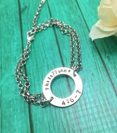 A personal favorite from my Etsy shop https://www.etsy.com/listing/512004286/washer-bracelet-christian-jewelry-hand