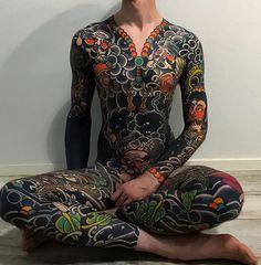 Japanese bodysuit tattoo by Swipe to the side to see all 3 photos! Mens Body Tattoos, Leg Tattoos, Body Art Tattoos, Tattoos For Guys, Dragon Tattoos, Japanese Tattoo Designs, Japanese Tattoo Art, Japanese Sleeve Tattoos, Tebori Tattoo