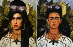 "Carolina Gallo's reinterpretation of Frida Kahlo's ""Self Portrait with Thom Necklace and Hummingbird"" by infusing Kahlo's face with that of late singer Amy winehouse"