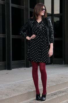 Fashion Blog, Fashion Blogger, How to Wear polka dots, How to wear a moto jacket, @whatiwore, What I Wore, What I Wore blog, What I Wore today, Jessica Quirk, Madewell Polka Dot Dress, Michael Kors Leather Jacket, Zara Booties, We Love Colors Maroon Tights, The Rail Bloomington, Date Night,