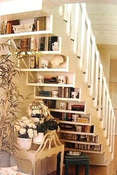 bookcase under staircase