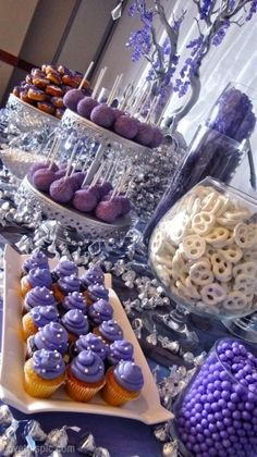 Purple Sweets party candy sweets purple dessert table entertain