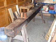Traditional Taiwanese workbench. It looks like this is straddled like a shave horse.