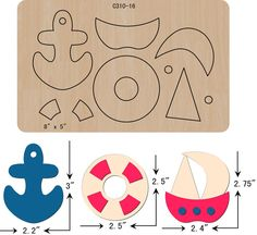 New Sailboat ,Wooden die,Scrapbooking,Cutting Dies,Free Diy Craft Projects, Diy Crafts For Kids, Sewing Projects, Felt Animal Patterns, Stuffed Animal Patterns, Foam Crafts, Paper Crafts, Card In A Box, Felt Templates