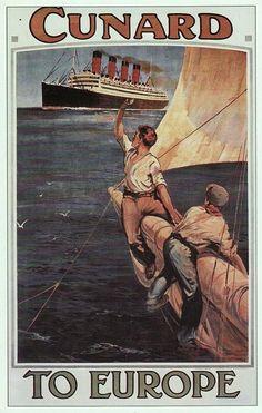 Cunard Line vintage travel poster Old Poster, Retro Poster, Poster Ads, Advertising Poster, Vintage Travel Posters, Vintage Postcards, Vintage Advertisements, Vintage Ads, Green Label