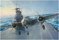 Into the Teeth of the Wind by Robert Taylor - - WWII - Doolittle Raid Ww2 Aircraft, Aircraft Carrier, Military Aircraft, Military Art, Military History, Doolittle Raid, Uss Hornet, Airplane Art, Aviation Art