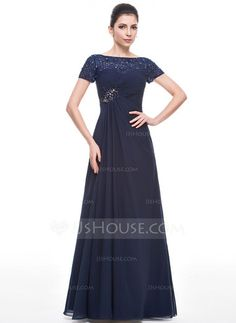 A-Line/Princess Scoop Neck Floor-Length Chiffon Lace Mother of the Bride Dress With Ruffle Beading Sequins (008058422) - JJsHouse