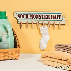 """Missing Sock Hanger Cute Humorous Laundry Room """"Sock Monster Bait"""" Sign ~NEW~ Dyi, Laundry Room Signs, Laundry Rooms, Laundry Area, Laundry Closet, Laundry Tips, Wooden Wall Plaques, Wood Wall, Lost Socks"""