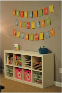 """Playroom - Ikea Expedit shelf and ABC alphabet banner. Playroom – Ikea Expedit shelf and ABC alphabet banner. Cards are """"My Favorite Things Flash Card Ikea Expedit Shelf, Ikea Regal Expedit, Playroom Decor, Kids Decor, Playroom Ideas, Playroom Storage, Decor Room, Playroom Flooring, Playroom Rules"""