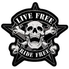 """[Single Count] Custom, Cool & Awesome {4"""" Inches} Small Live Free Ride Free Skeleton Skull & Crossbones in Front of Nautical Star (Biker Type) Velcro Patch """"Black, Gray & White"""""""