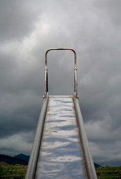 So hot in the summertime...oh boy these were torture...but we slid down anyway!