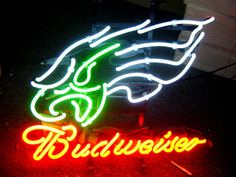"""NFL PHILADELPHIA EAGLES BUDWEISER BEER BAR CLUB NEON LIGHT SIGN (16"""" X 13"""") - Free Shipping Worldwide  ~ Voltage: 100-240v UL Transformers from NeonPro - Workable in all countries - US, UK, Canada, Japan, Australia, European Countries, & Others.  ~ Payment: Paypal / Credit Cards / Western Union.  ~ Delivery Time: 9-15 days to USA/Canada/Japan/Australia/Asian Countries; 12-18 days to European Countries/South American Countries; via a USPS/Hongkongpost/Canadapost tracking number, directly…"""