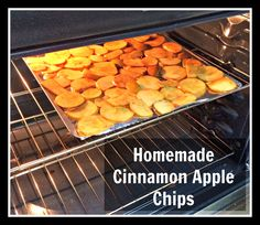Homemade Cinnamon Apple Chips - Easy and Healthy Party Snack. Slice apples. Shake in ziplock bag with sugar and cinnamon. Bake at 200 degrees for 2 hours, flipping once in the middle.