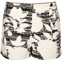 TOPSHOP Flower Print Shorts (100 MYR) ❤ liked on Polyvore featuring shorts, bottoms, topshop, short, off white, off white shorts, short shorts, flower print shorts, floral print shorts and tailored shorts