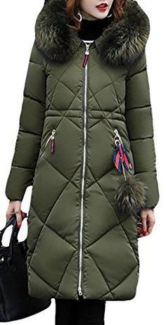 f590f4115e587 Papijam Womens Winter Zip Front Faux Fur Hood Long Puffer Parkas Coat Army  Green Small Puffer