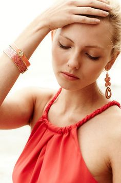 Stella & Dot - Capri Chandelier Earrings in Coral