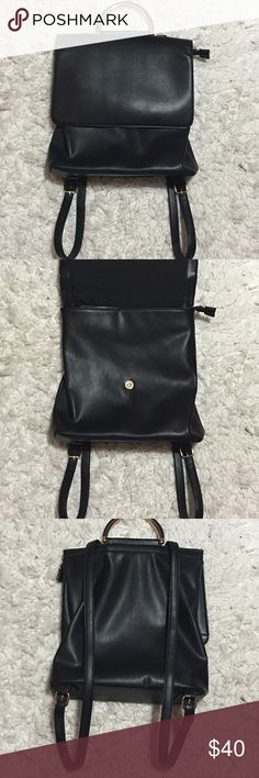 ‼️CLEARANCE Faux Leather Backpack Rarely worn (worn 1) faux leather backpack. It has a magnetic clip to close but a zipper as well for security. Statement piece. Has some gold features. In excellent condition, like new! Forever 21 Bags Backpacks