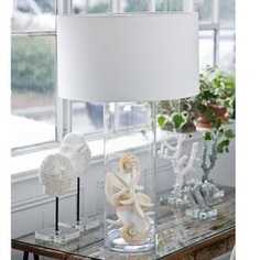 """34"""" Cylinder Display Glass Lamp for Beach Treasures!    What a wonderful way to bring the natural shells of a windswept beach indoors with our cylinder glass display lamp. A fabulous coastal accent for any modern coastal  home.      Shade is 21"""" in diameter, lamp is 34"""" tall with a 3-way switch"""