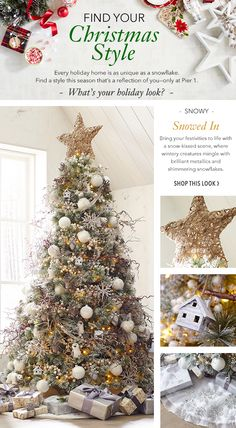 If one of your favorite things about Christmas is the weather, then you can guarantee flurries of holiday spirit with Pier 1's Snowed In holiday look. This style brings the natural wonder of a winter forest to your Christmas tree. Come find everything you need to bring this look home.