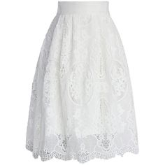 Chicwish Pure White Crochet Midi Skirt found on Polyvore featuring polyvore, women's fashion, clothing, skirts, midi skirt, white, white skirt, crochet skirt, cotton skirts and white floral skirt