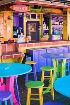 Beach house bar, all the colors Porte Menu Restaurant, Restaurant Design, Taco Restaurant, Arte Bar, Key West Style, Beach Cafe, World Of Color, Cafe Design, Rainbow Colors