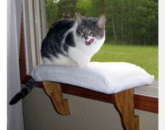 Cat Window  Perch - Zero Installation - clips in windws sill.  Wood Base / Padded Fleece Cover