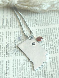 Personalized State Necklace - Hand Stamped With Heart and Longitude Latitude and Birthstone on Etsy, $25.00