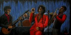 'Soul Brothers'. Artwork depicting the James Brown band performing live