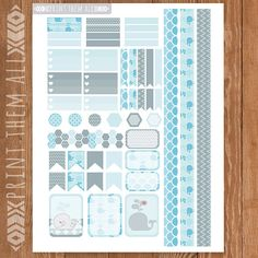Whale Printable Planner Stickers OWL by PrintThemAllStudio on Etsy