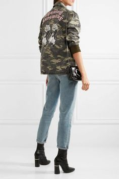 Opening Ceremony - Tigers Coach Appliquéd Camouflage-print Cotton-canvas Jacket - Army green - small