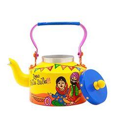 A Krazy Mug Hand Painted Tea Kettle Set Tea Set With Aluminium Kettle And 2 Tea Glasses Punjabi Couple, Tea Pot Set, Pot Sets, Theme Design, Teapot Crafts, Craft From Waste Material, Rajasthani Art, Paper Quilling Flowers, Spiritual Decor