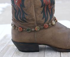 Stone boot bling, jasper, gift for her, stocking stuffer, Christmas gift by CustomAnkletsByLori on Etsy Boot Jewelry, Cowgirl Jewelry, Diy Jewelry, Jewelry Design, Fashion Jewelry, Boot Bracelet, Bracelets, Beadwork, Beading