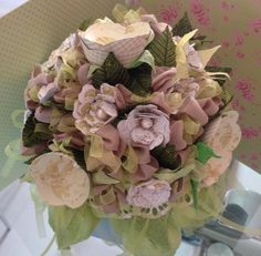 bouquet e centrotavola green shabby