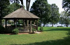 The gazebo in Town Park offers a shady spot to relax and watch the boat traffic on the Connecticut River. Photo by Caryn B. Davis.