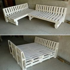 You can make two benches from recycled wooden pallets. After that, you can join these two to turn it to a bed. We have painted in white color.