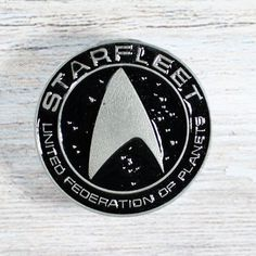 Star Trek Drawer Knob in Silver and Black  Starfleet Sci-Fi image 0