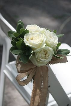 white rose Wedding aisle flower décor, wedding ceremony flowers, pew flowers, wedding flowers, add pic source on comment and we will update it. www.myfloweraffair.com can create this beautiful wedding flower look.