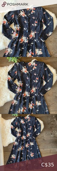 I just added this listing on Poshmark: Vintage long sleeve button front floral dress. #shopmycloset #poshmark #fashion #shopping #style #forsale #Vintage #Dresses & Skirts
